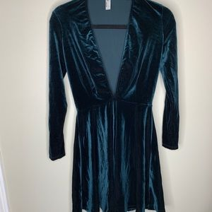 American Apparel Deep V Neck Velvet Dress size L